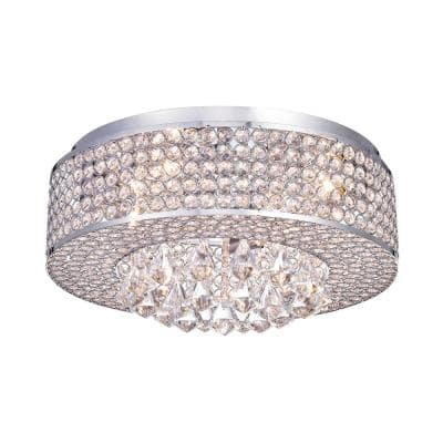 17.5 in. 4-Light Chrome Drum Flush Mount with Crystal Beaded