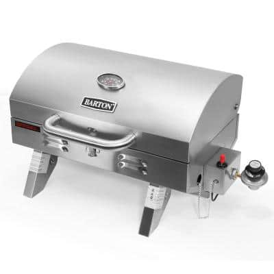 1-Burner Portable Tabletop Propane in Stainless Steel Gas Grill with Foldable Legs and Locking Lid