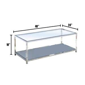 Ludvig 48 in. Chrome Large Rectangle Glass Coffee Table with Shelf