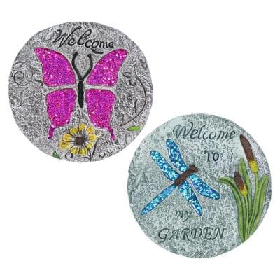 Dragonfly and Butterfly 9.65 in. x 0.79 in. x 9.65 in. Fliers Resin Step Stone (Set of 2 )