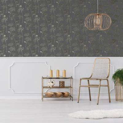 Wild Flower Charcoal Wallpaper Sample