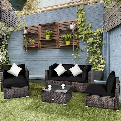 Patio Rattan Furniture Set Cushion Sofa Coffee Table with Black Cushions