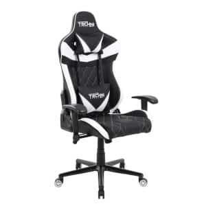 White and Black Ergonomic High Back Racer Style Video Gaming Chair