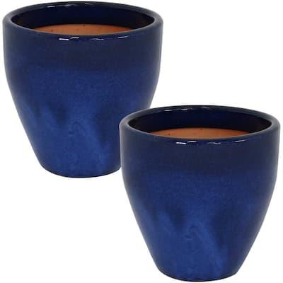 Resort 10 in. Blue Indoor/Outdoor Ceramic Planter (2-Pack)