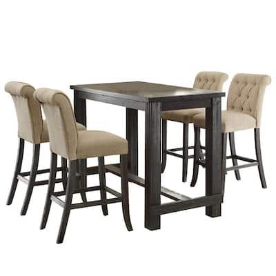 Sania II Antique Black Table Set