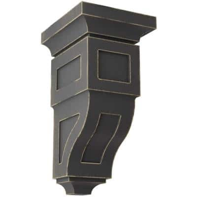 6 in. x 12 in. x 6-3/4 in. Black Large Reyes Wood Vintage Decor Corbel