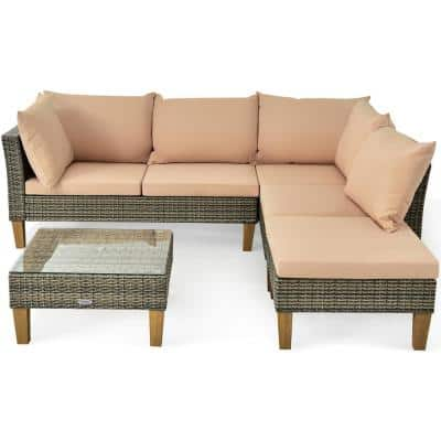 Wicker Outdoor Loveseat with Beige Cushions