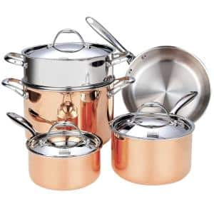 Multi-Ply Clad 8-Piece Stainless Steel Nonstick Cookware Set in Stainless Steel and Copper