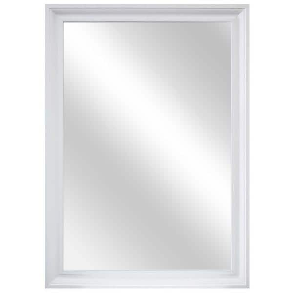 Home Decorators Collection 28 In W X 40 In H Framed Rectangular Anti Fog Bathroom Vanity Mirror In White 81166 The Home Depot