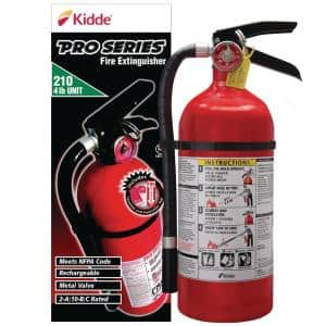 Pro Series 210 Fire Extinguisher with Hose & Easy Mount Bracket, 2-A:10-B:C, Dry Chemical, One-Time Use