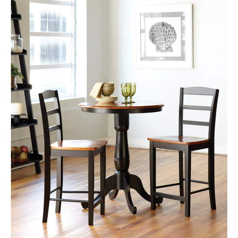 International Concepts Madrid 3 Piece Black And Cherry Bar Table Set K57 30rt 6b 402 The Home Depot