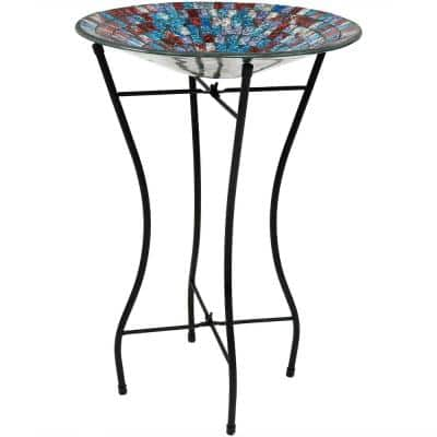 14 in. Multi-Color Tile Glass Bird Bath Bowl with Stand