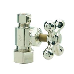 1/2 in. Comp Inlet x 3/8 in. Comp Outlet Multi-Turn Straight Valve with Cross Handle in Polished Nickel