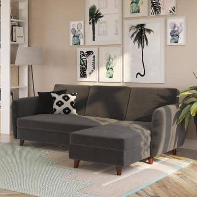 Perry 2-Piece Gray Velvet 4 Seater L-Shape Left Facing Sectional Futon with Storage
