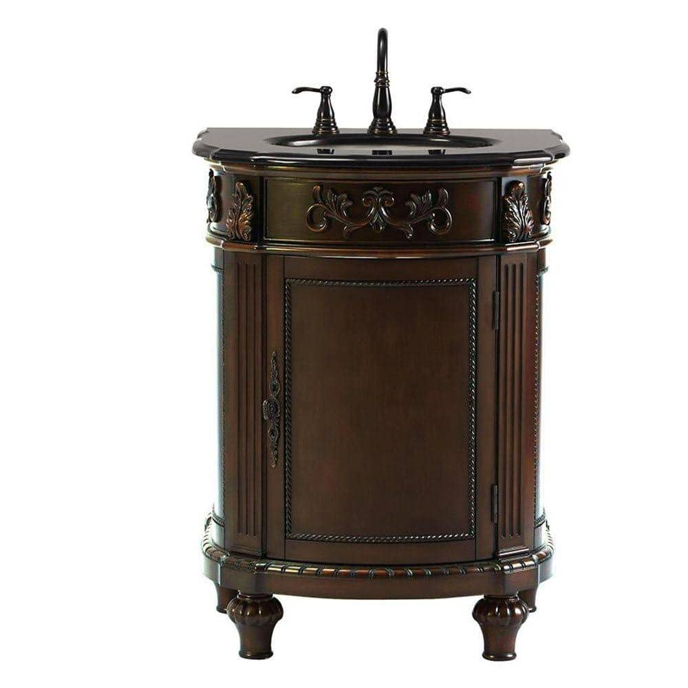 Home Decorators Collection Chelsea 26 In W Bath Vanity In Antique Cherry With Granite Vanity Top In Black 12102 Vs26a Ac The Home Depot