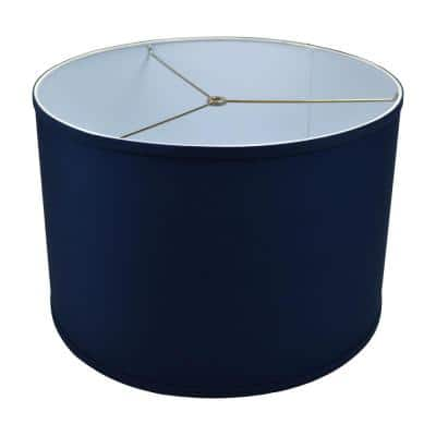 Fenchel Shades 18 in. Top Diameter x 18 in. Bottom Diameter x 12 in. Height Drum Lamp Shade - Linen Navy Blue