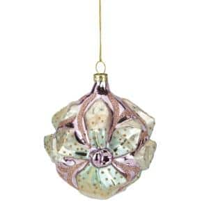 4.25 in. Green and Pink Flower Glass Christmas Ornament