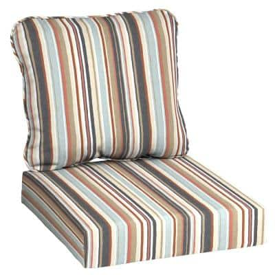 24 in. x 22 in. 2-Piece Russet Stripe Deep Seating Outdoor Lounge Chair Cushion