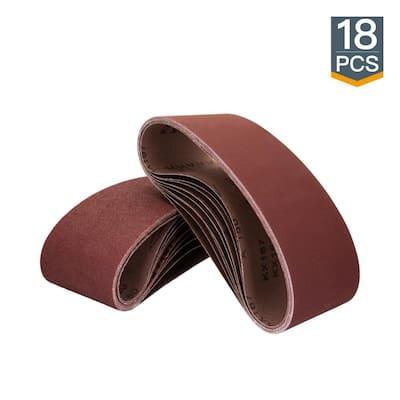 3 in. x 18 in. 60/80/120/150/240/400-Grit Aluminum Oxide Sanding Belt Assortment (18-Pack)