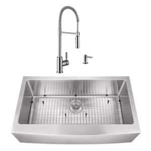 Undermount Stainless Steel 35-7/8 in. Apron Front Single Bowl Kitchen Sink with Brushed Nickel Faucet