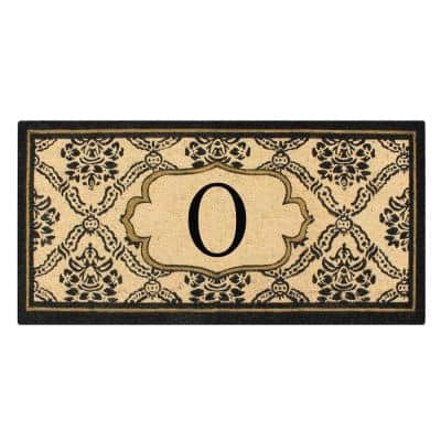 A1HC First Impression Black/Beige 30 in. x 60 in. Uriel Treated Coir Monogrammed O Entry Double Door Mat