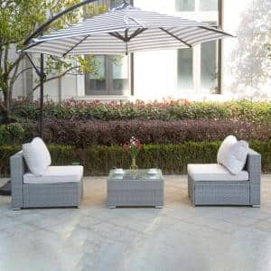 JAZZY 3-Piece Rattan Seating Group with Gray/Ivory Cushions