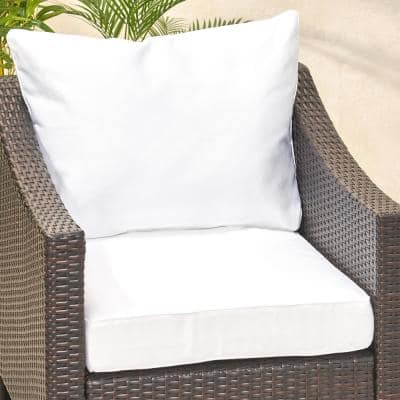 Smythe 27 in. x 21.5 in. 2-Piece Outdoor Club Chair Cushion Set in White