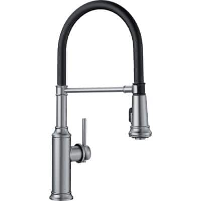 EMPRESSA Semi-Pro Single-Handle Pull-Down Sprayer Kitchen Faucet in Stainless