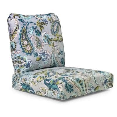 24 in. x 22 in. Outdoor Deep Seating Chair Cushion in Shadow Gray Paisley