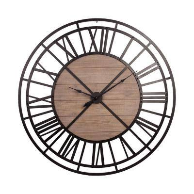 Mariana Round Black and Brown XL Industrial Style Wall Clock