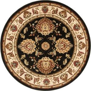 Timeless Abbasi Black Traditional Oriental 8 ft. x 8 ft. Round Area Rug
