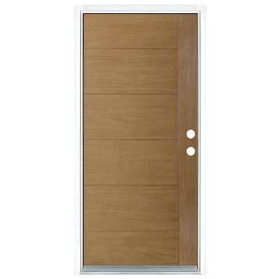 36 in. x 80 in. Contemporary Teak Modern Light Oak Left-Hand Inswing Stained Fiberglass Prehung Front Door