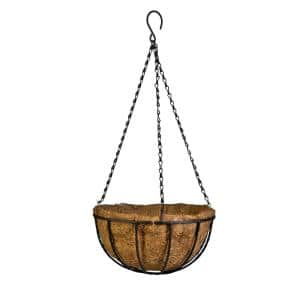 Canterbury 12 in. Metal and Coconut Liner Hanging Basket