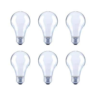 40-Watt Equivalent A19 Frosted Glass Vintage Decorative Edison Filament Dimmable LED Light Bulb Daylight (6-Pack)