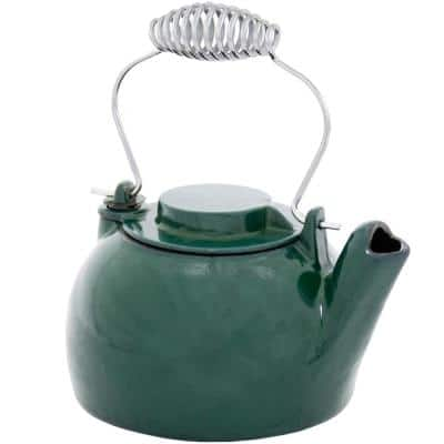 8- Cups 9.25 in. Tall Green Cast Iron Enameled Humidifying Stovetop Kettle