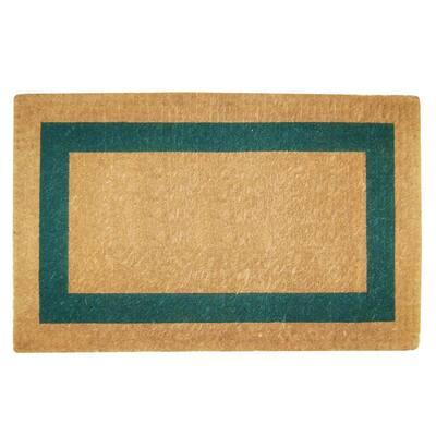 Single Picture Frame Green 22 in. x 36 in. Coir Door Mat