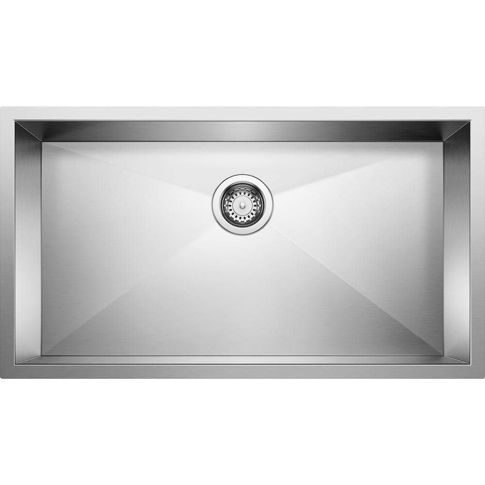 blanco quatrus r0 undermount stainless steel 32 in single bowl kitchen sink 518172 the home depot