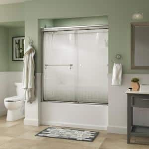 Portman 60 in. x 58-1/8 in. Semi-Frameless Traditional Sliding Bathtub Door in Chrome with Droplet Glass