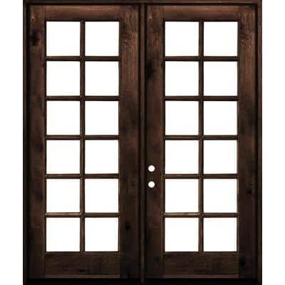 60 in. x 96 in. French Knotty Alder Wood 12-Lite Clear Glass red mahogony Stain Right Active Double Prehung Front Door