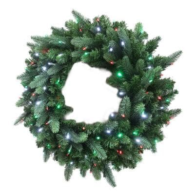 36 in. Christmas Bright Pre-lit LED Artificial Spruce Wreath with Red,Green, and Cool White Lights