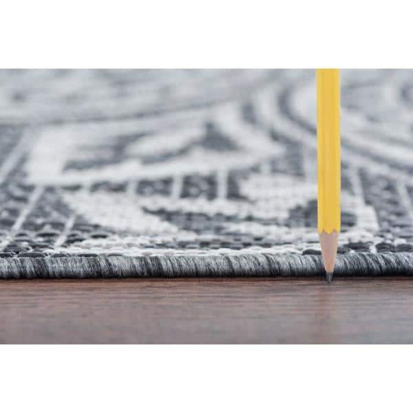 Tayse Rugs Veranda Charcoal 2 Ft X 3 Ft Outdoor Accent Rug Vnd2618 2x3 The Home Depot