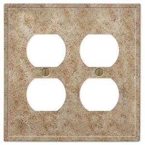 Talia 2 Gang Duplex Resin Wall Plate - Noce