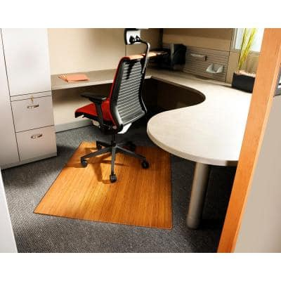 Standard 5 mm Natural Light Brown 42 in. x 48 in. Bamboo Roll-Up Office Chair Mat without Lip