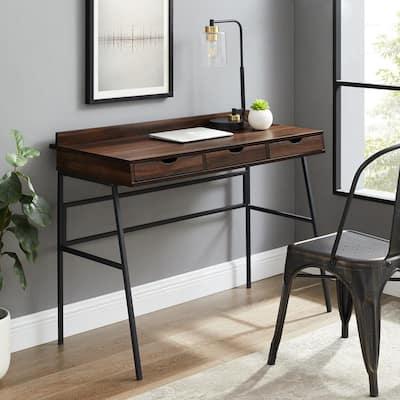 42 in. Dark Walnut Rectangular 3 -Drawer Writing Desk with Storage