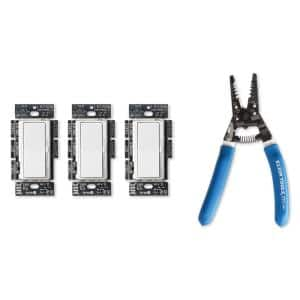 Diva LED Dimmer Switch, White (3-Pack), Klein Wire Stripper/Cutter for 8-16 AWG Solid Wire and 10-18 AWG Stranded Wire