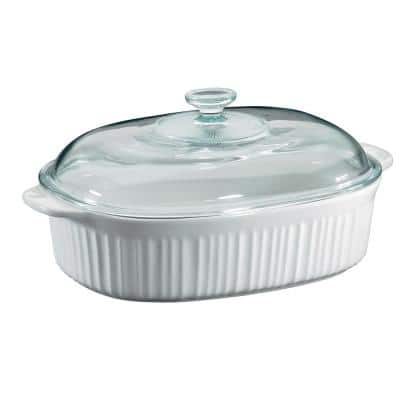 French White 4-Qt Oval Ceramic Casserole Dish with Glass Cover