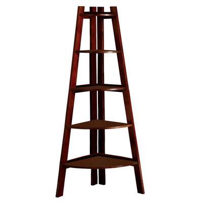 63.25 in. Cherry Wood 5-shelf Corner Ladder Bookcase