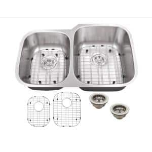 All-in-One Undermount 16-Gauge Stainless Steel 31-1/2 in. 0-Hole 40/60 Double Bowl Kitchen Sink with Grids and Drains