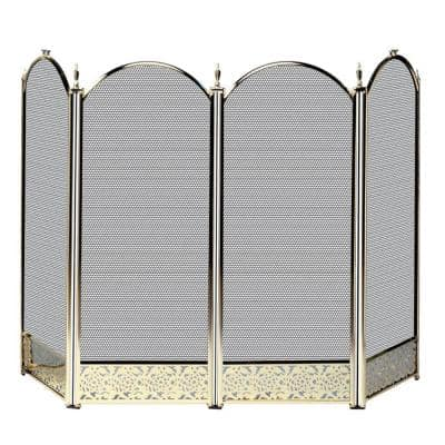 Antique Brass Finish 52 in. W 4-Panel Fireplace Screen with Decorative Filigree