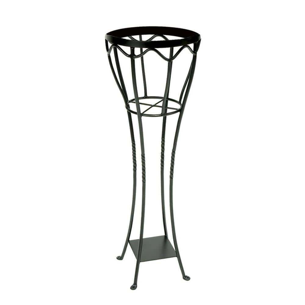 Achla Designs 40 5 In Tall Graphite Powder Coat Iron Indoor Outdoor Elegant Verandah Plant Stand Vps 04 The Home Depot
